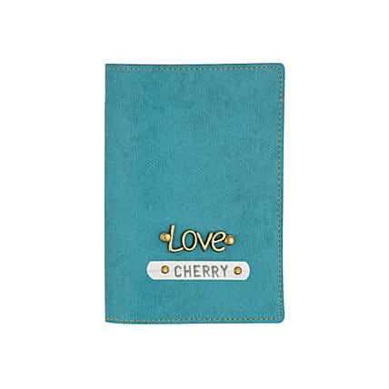 Leather Finish Passport Cover Turquoise: Fashion Accessories