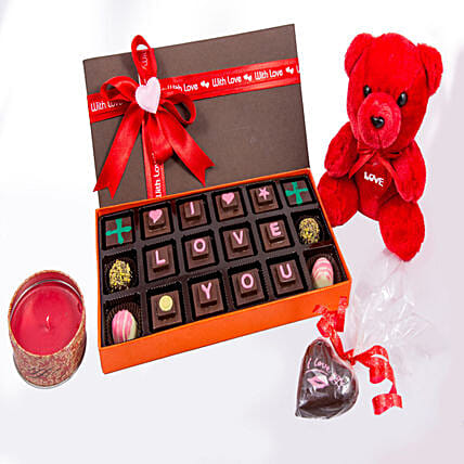 Teddy And Candle With I LOVE U Chocolates 18: Soft Toys Gifts