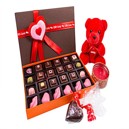 Teddy And Candle With I LOVE U Chocolates 24: Send Soft Toys