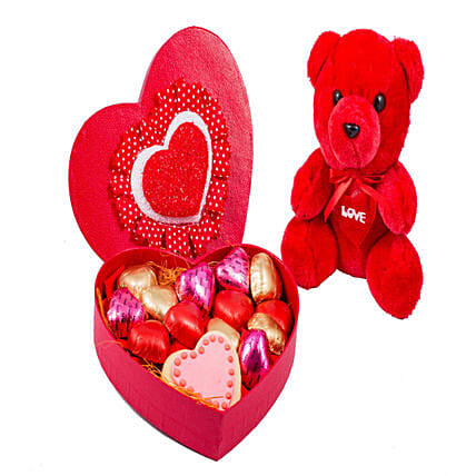 Teddy And Heart Shaped Box Of Chocolates 18: Heart Shaped Gifts