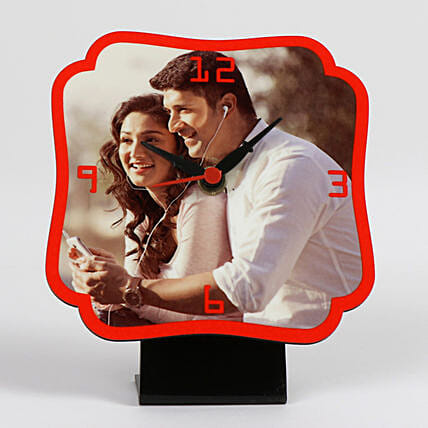 Personalized Red Table Clock: Personalised Clocks