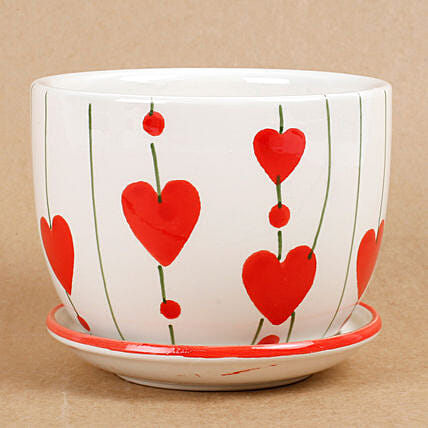 Ceramic Cup & Saucer Vase White & Red: Pots and Planters
