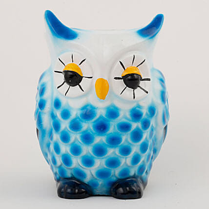 Owl Shaped Resin Vase White & Blue: Pots for Plants