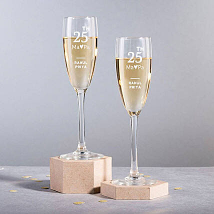 Personalised Set Of 2 Champagne Glasses 2896: