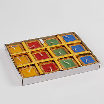 Colorful Square Terracotta Diya Set 12 Pcs: Diyas