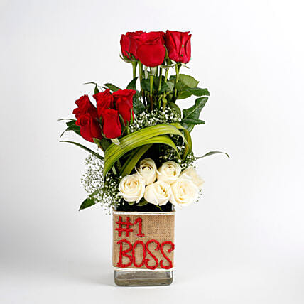 White & Red Roses Glass Vase Arrangement No 1 Boss: Gift For Boss