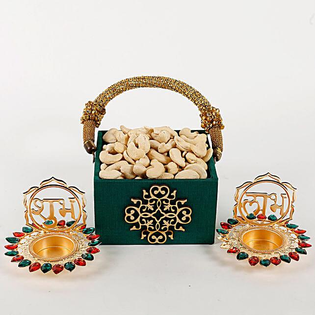 Designer Green Wooden Cashew Nuts Basket: Send Gift Hampers