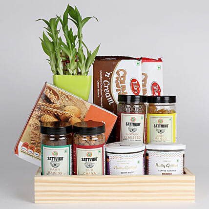 Bamboo Plant with Healthy Snacks Hamper: