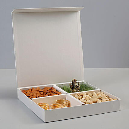 Dry Fruits & Antique Metal Ganesha Idol Gift Box: Gift Hampers