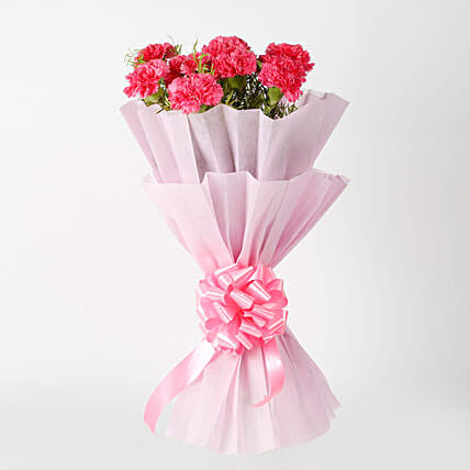 Passionate Pink Carnations Bouquet: Kiss Day Flowers