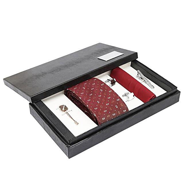Alvaro Castagnino Maroon N Brown Necktie Pocket Square Lapel Pin & Cufflinks Set for Men: Send Ties and Cufflinks