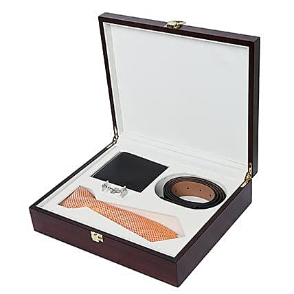 Alvaro Castagnino Orange & Black Accessory Gift Set for Men: Belts for Men