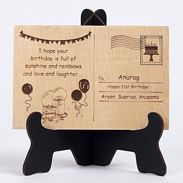 Personalised Engraved Wooden Birthday Postcard: Personalised Engraved