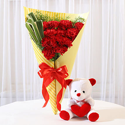 12 Red Carnations & Teddy Bear Combo: Soft Toys Gifts
