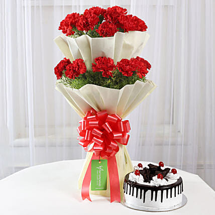 Two Layer Red Carnations With Black Forest Cake: Combo Gifts