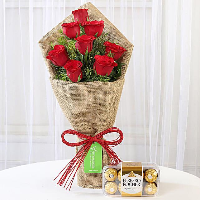 8 Red Roses Bouquet With Ferrero Rocher: Ferrero Rocher Chocolates