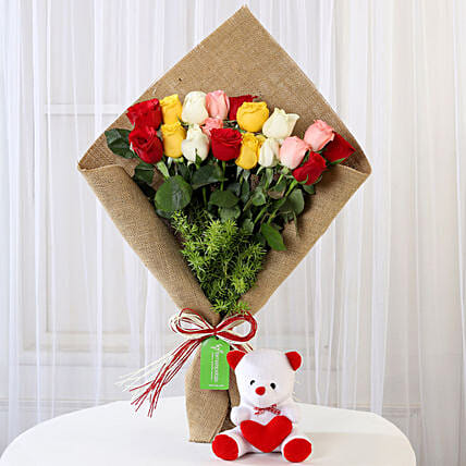 Mix Roses Bouquet & Teddy Bear Combo: Flower N Teddy