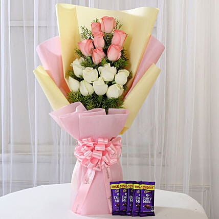 Pink & White Roses & Dairy Milk Combo: