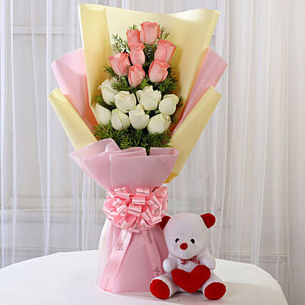 Pink & White Roses with Teddy Bear Combo: Mixed Roses
