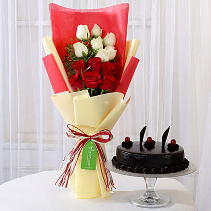 Truffle Cake & Red & White Roses Bouquet:
