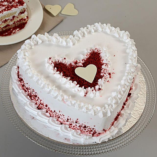 Red Velvet Cream Heart Cake: Red Velvet Cakes Faridabad
