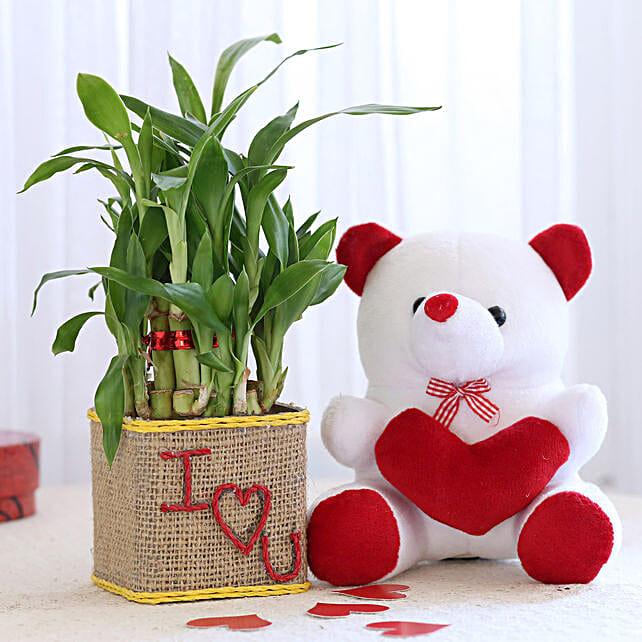 2 Layer Lucky Bamboo In I Love U Glass Vase With Teddy Bear: Plants N Teddy Bears