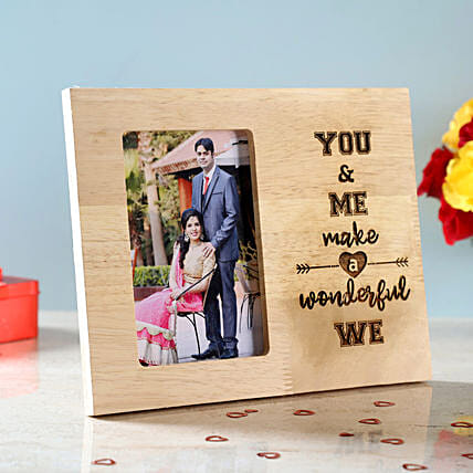 You & Me Engraved Wooden Photo Frame: Send Photo Frames