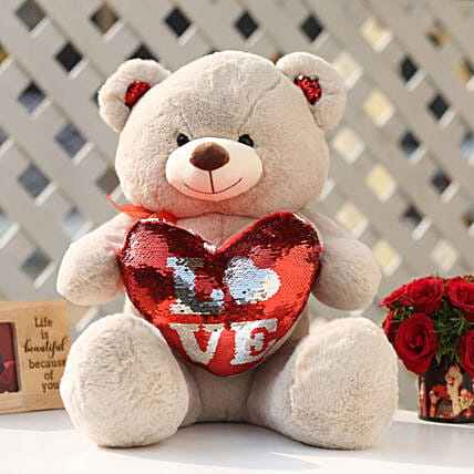Camel Color Sequin Love Teddy Bear: Send Soft Toys