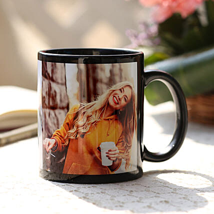 Personalised Love Black Ceramic Mug: Custom Photo Coffee Mugs