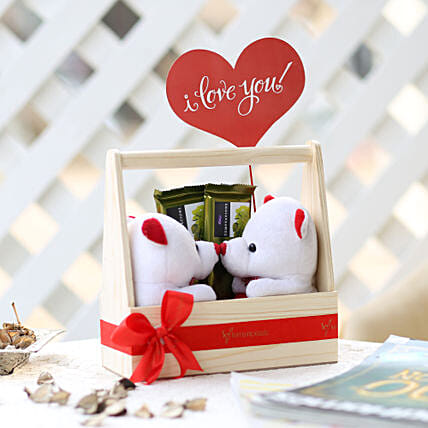 Pair Of Teddy In Wooden Kissing Booth: