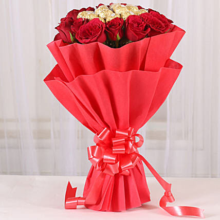 Premium Rocher Bouquet: Send Flowers and Chocolates