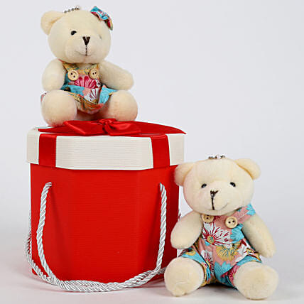 Teddy Bears in Pretty Red Box: Soft toys for birthday