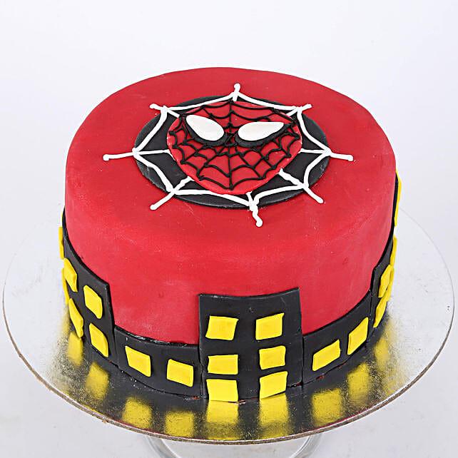 Round Fondant Spiderman Cake: