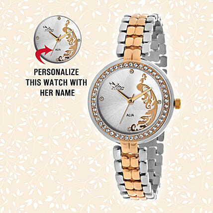 Personalised Silver Golden Watch For Her: Personalised Accessories