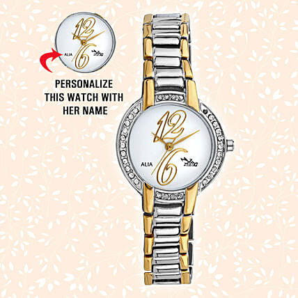 Personalised Classy Silver & Golden Watch: Personalised Accessories