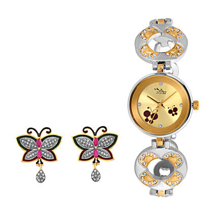 Personalised Watch & Butterfly Earrings Set: Buy Watches