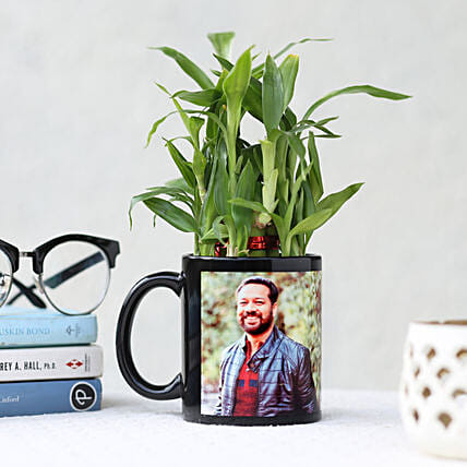 2 Layer Bamboo in Personalised Black Mug: Lucky Bamboo for Birthday