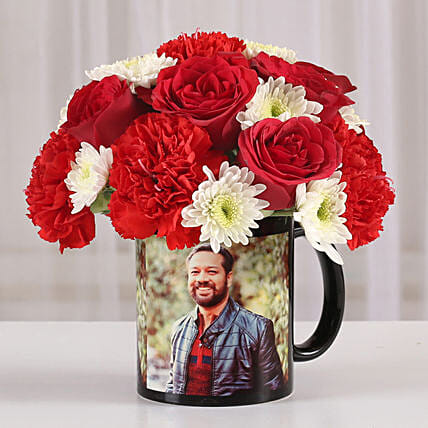 Mixed Flowers in Photo Mug: Personalised Gifts Combos
