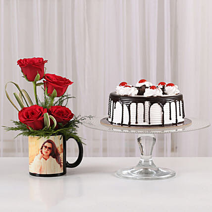 Red Roses Mug & Black Forest Cake Combo: Gift Combos