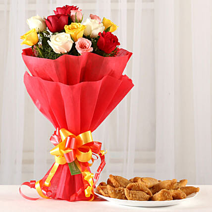 Posy Of Mixed Roses & 1 Kg Gujia Combo: Send Holi Gifts