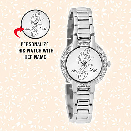 Personalised Steel Silver Watch For Her: Personalised Accessories