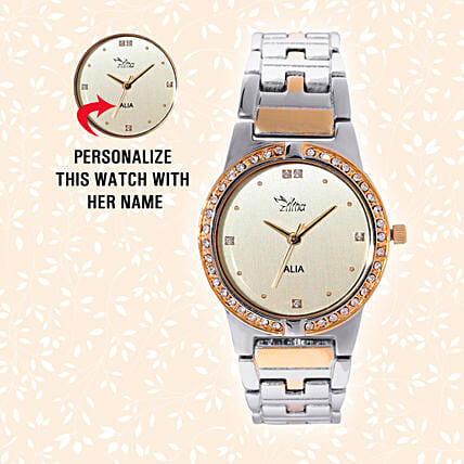 Personalised Trendy Golden & Silver Watch: