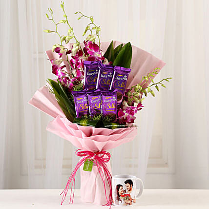 Bunch Of Orchids & Personalised Mug Combo: Personalised Gifts Combos