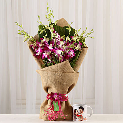 Purple Orchids Bunch & Personalised Mug Combo: