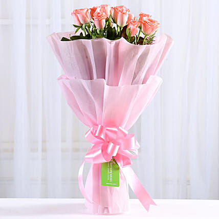 Endearing Pink Roses Bouquet: Send Flower Bouquets