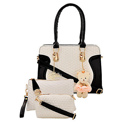 LaFille Teddy Keychain Handbag Set- Black & White: Handbag Gifts