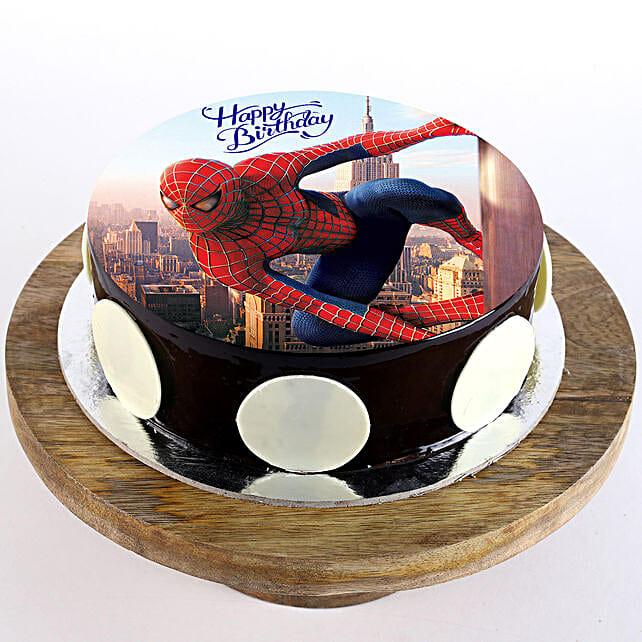 Spiderman Chocolate Photo Cake: Super Hero Themed Cakes
