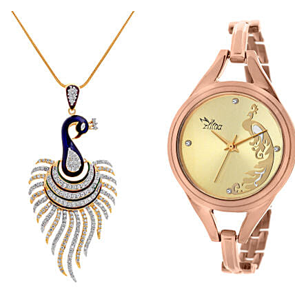 Personalised Peacock Watch & Pendant: Fashion Accessories