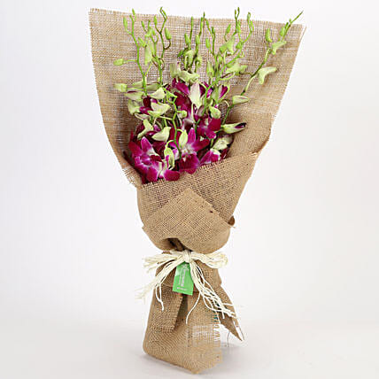 Jute Wrapped 6 Purple Orchids Bunch: Purple Flowers