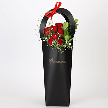 Ravishing Red Roses in Black Sleeve: Send Flowers In Sleeve